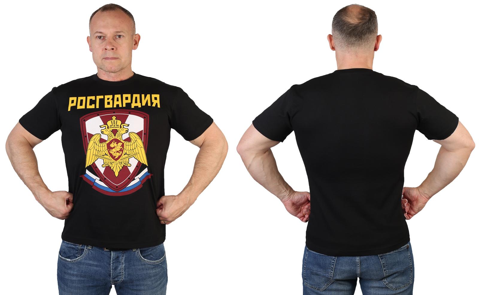 Черная мужская футболка с принтом Росгвардия
