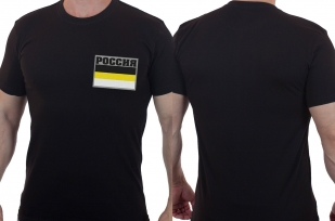 Мужская черная футболка с флагом Российской Империи
