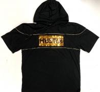 Черная футболка с капюшоном HUSTLE