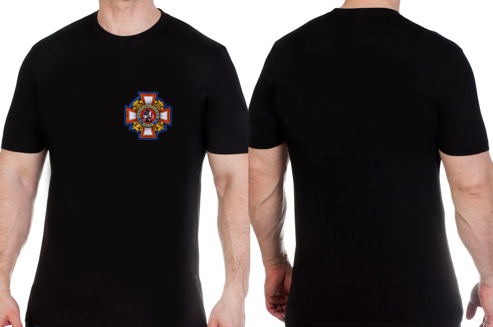 Черная футболка с нашивкой Потомственный казак купить оптом