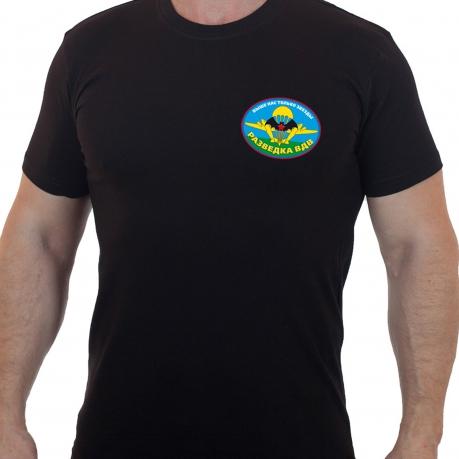 Чёрная футболка с овальной эмблемой разведки ВДВ
