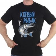 Черная футболка с принтом «Клёвый рыбак»