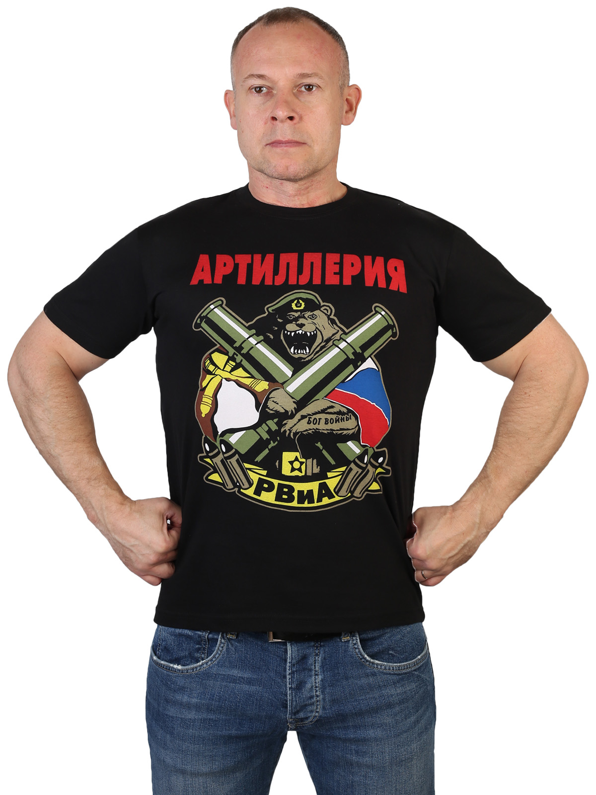 Черная футболка с принтом РВиА