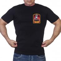 Черная футболка с принтом Участник парада Победы