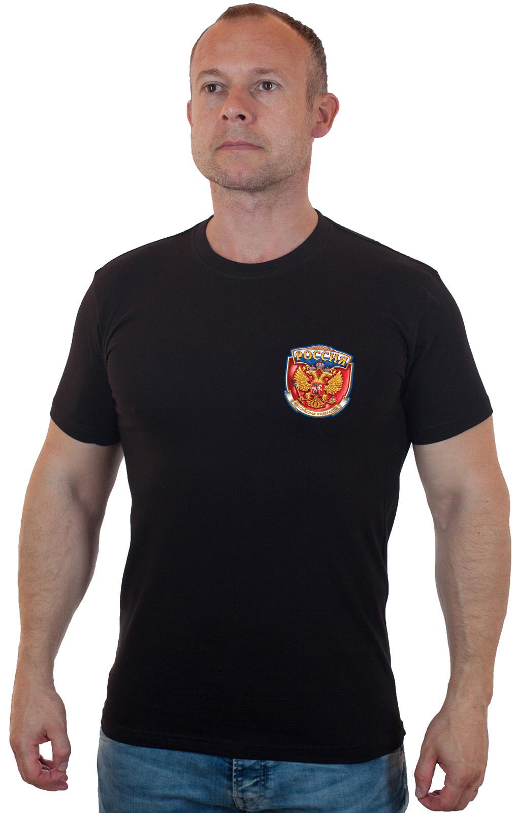 Черная футболка с Российским гербом - купить в подарок