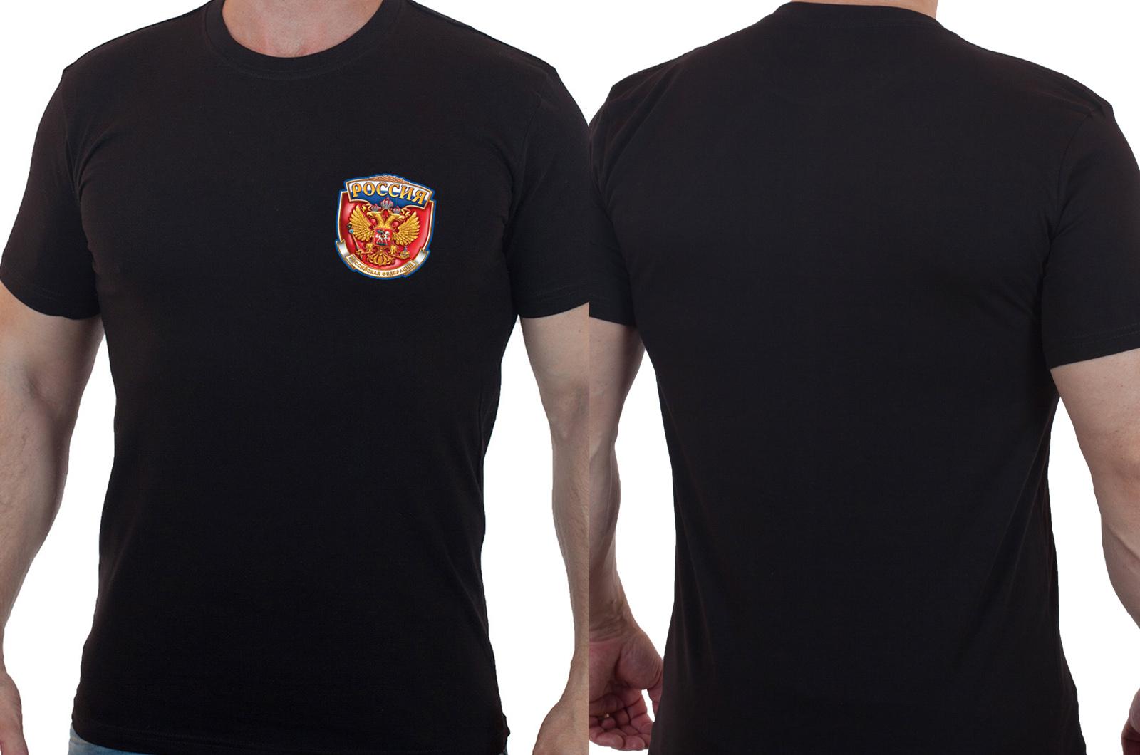 Черная футболка с Российским гербом - купить выгодно