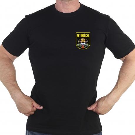 Чёрная футболка с термотрансфером Автовойска