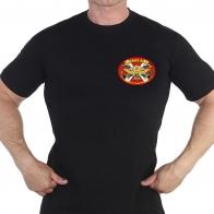 Чёрная футболка с термотрансфером Танковые войска