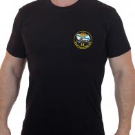 Черная футболка с вышитым шевроном ВМФ 18 дивизия ТРПК СН