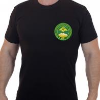 Черная футболка с вышивкой Группа погранвойск России в Таджикистане ФПС