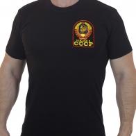 Черная футболка с вышивкой Рожден в СССР