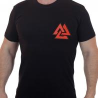 Черная футболка с вышивкой Валькнут