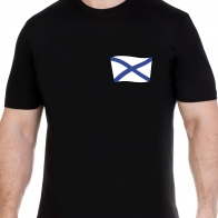 Черная футболка ВМФ с Андреевским флагом