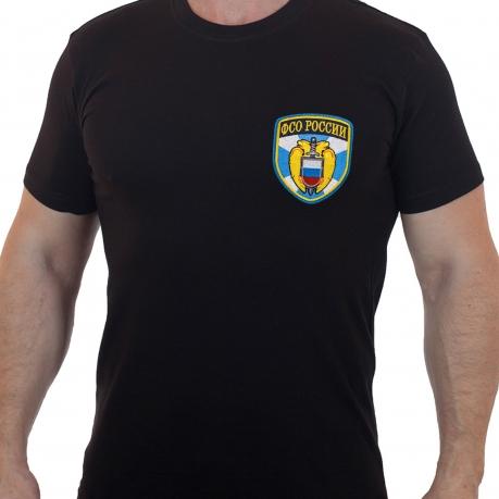 Черная хлопковая футболка с вышитым шевроном ФСО России - купить онлайн