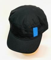 Черная кепка-немка с голубой вышивкой