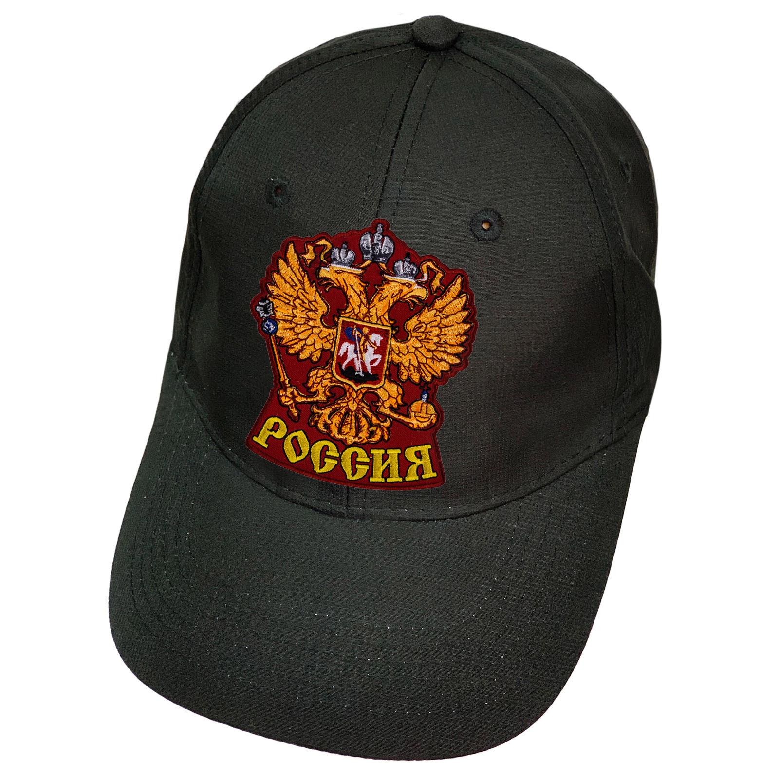 Чёрная кепка Россия с гербом