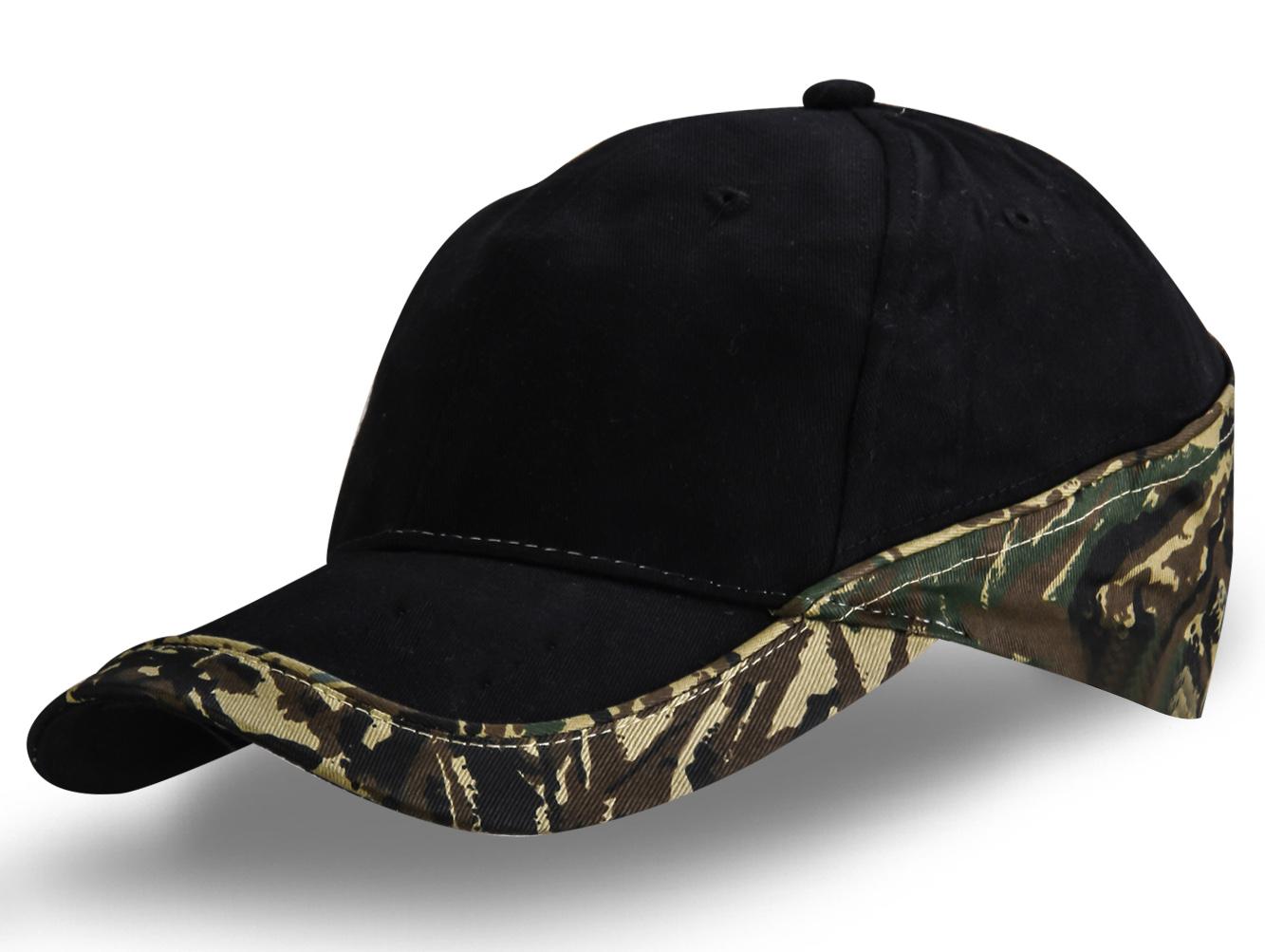 Черная кепка с камуфляжем - купить в интернет-магазине с доставкой