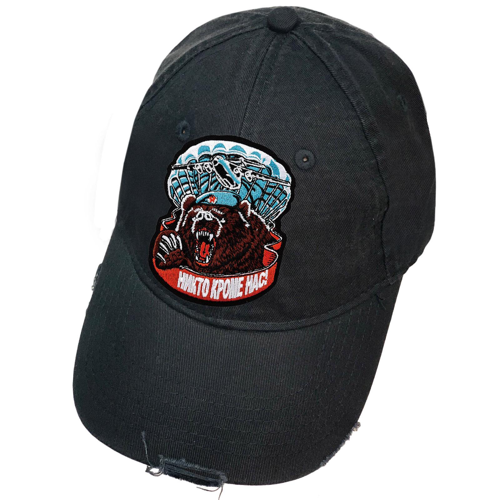 Чёрная кепка с нашивкой ВДВ Медведь в голубом берете
