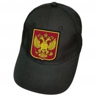Чёрная кепка с российским гербом