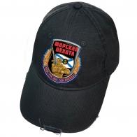 Чёрная кепка с термоаппликацией Морская пехота