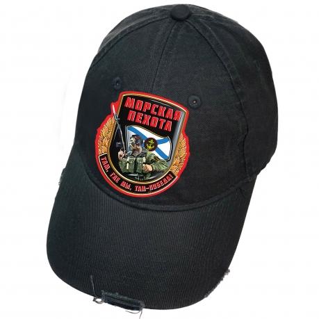 Чёрная кепка с термотрансфером Морская пехота