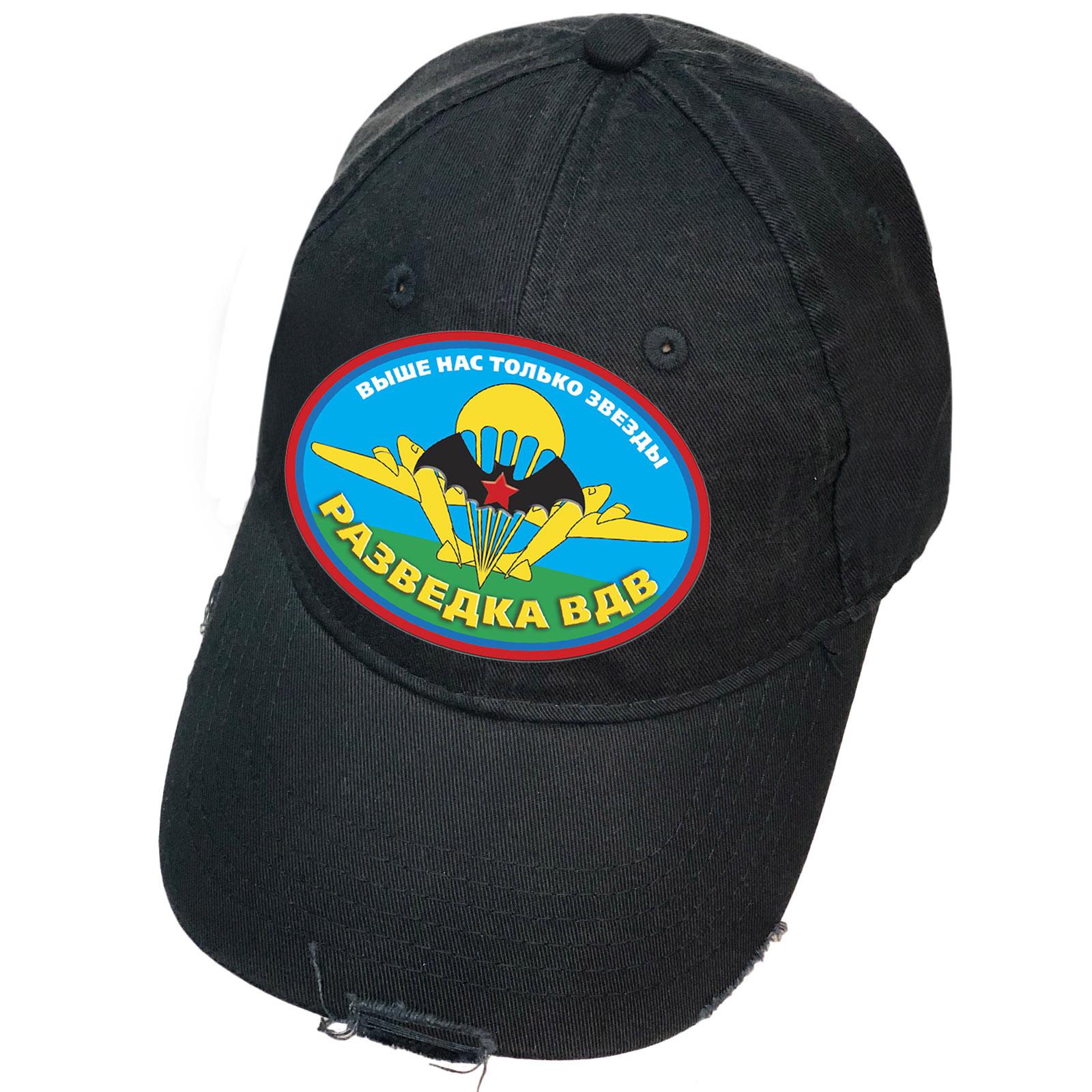 Чёрная кепка с термотрансфером Разведка ВДВ