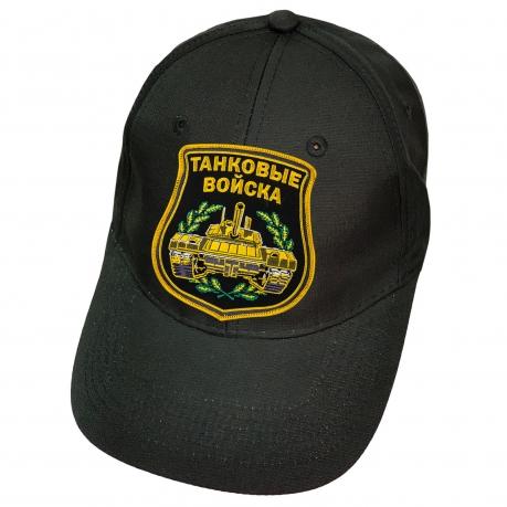 Чёрная кепка с вышивкой Танковые войска