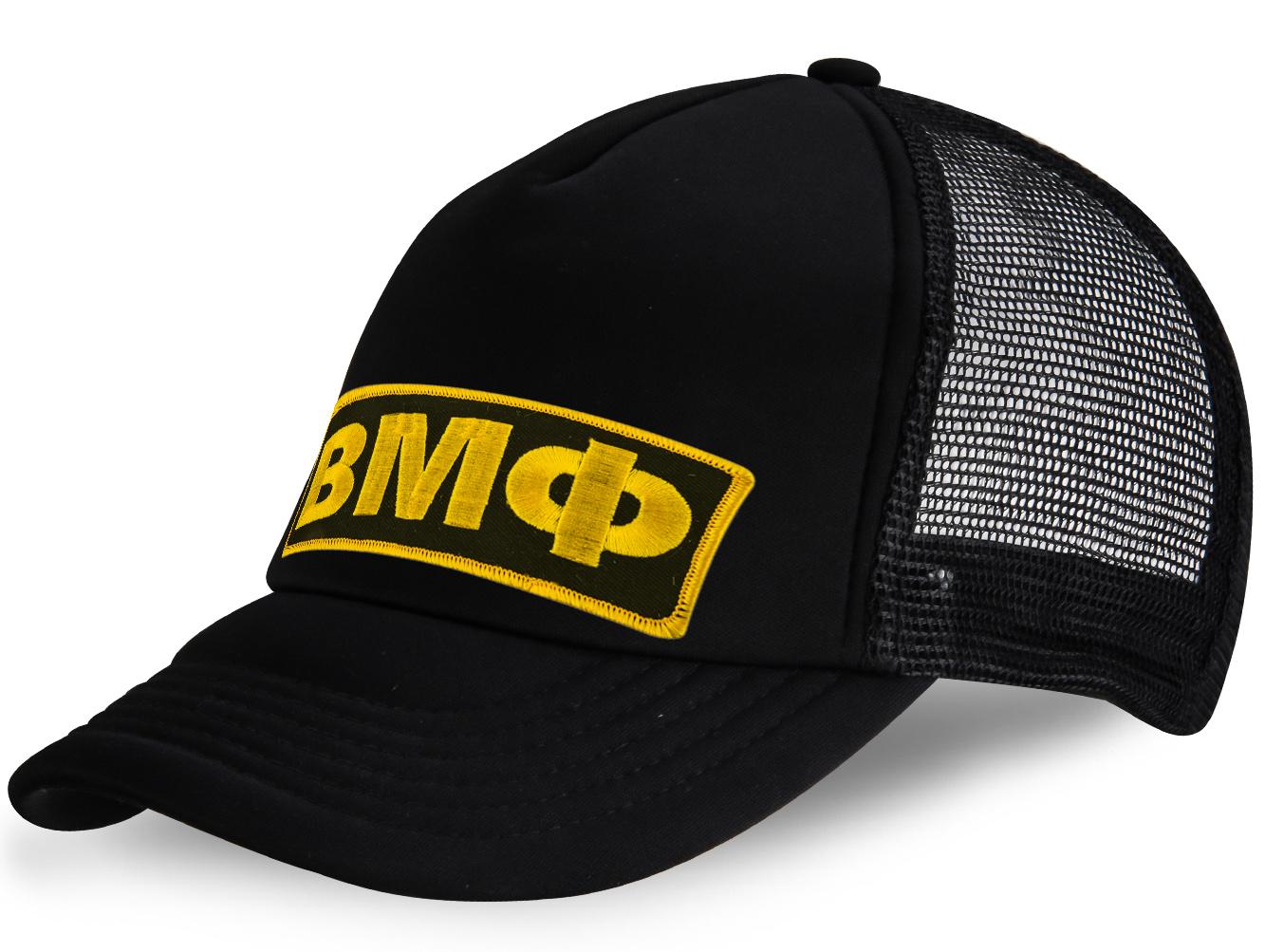 Черная кепка военного моряка с вышивкой и сеткой