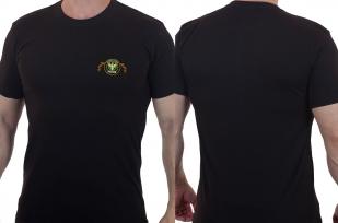 Черная крутая футболка с вышитым шевроном войска ПВО - купить оптом