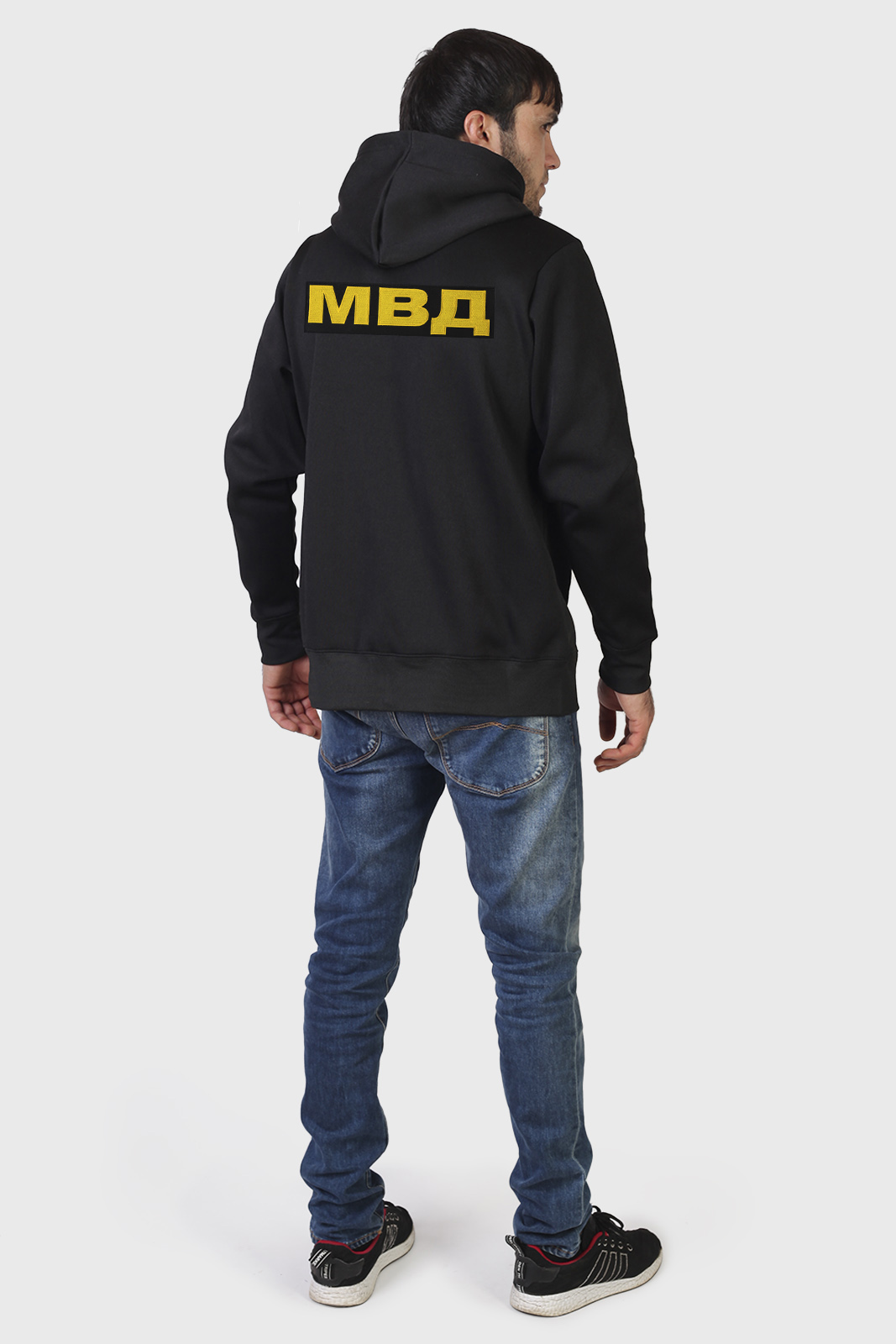 Черная крутая толстовка с символикой ОДОН ВВ МВД на груди и спине - купить в розницу