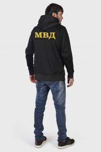 Черная крутая толстовка с символикой ВВ МВД на груди и спине - купить онлайн