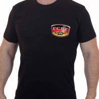 Черная лаконичная футболка с эмблемой ГСВГ