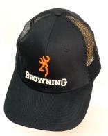 Черная летняя бейсболка Browning с сеткой и оранжевой вышивкой