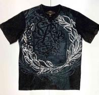 Чёрная молодёжная футболка с орнаментом