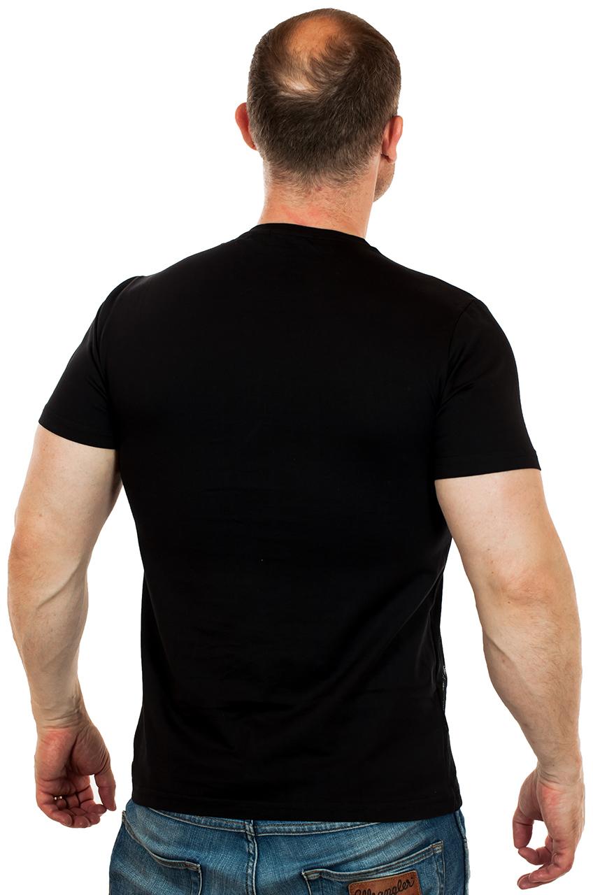 Черная мужская футболка SPLASH с сеткой-аппликацией. ТВОЁ ВРЕМЯ!