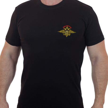 Черная мужская футболка с символикой МВД России