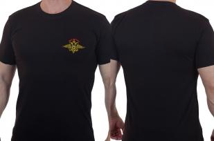 Черная мужская футболка с символикой МВД России купить с доставкой