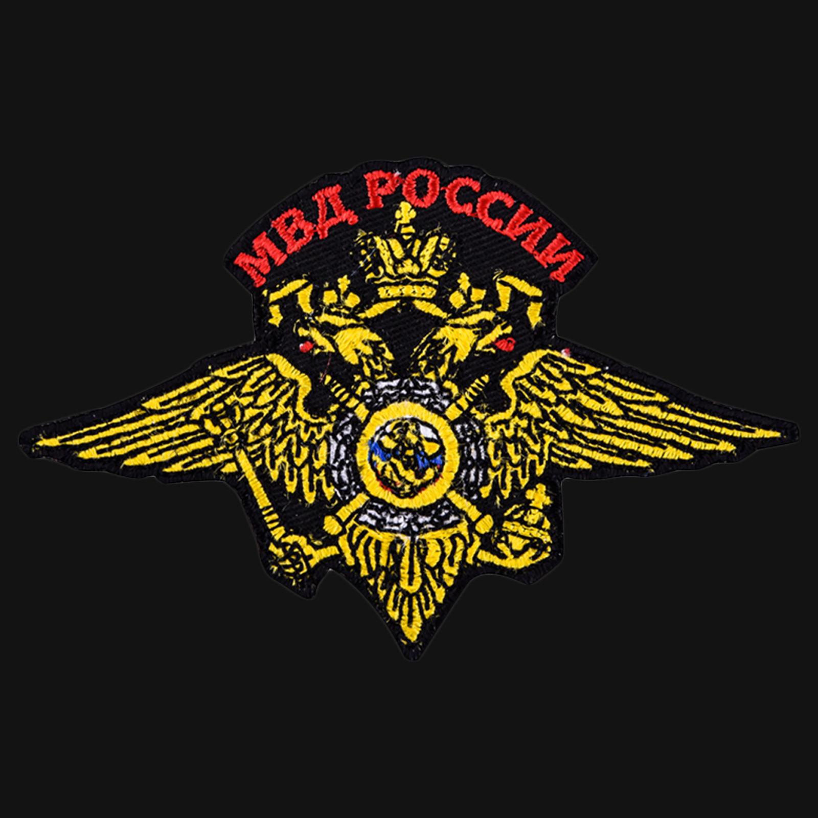 Черная мужская футболка с символикой МВД России купить оптом