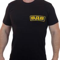 Черная мужская футболка с вышитой надписью ВДВ