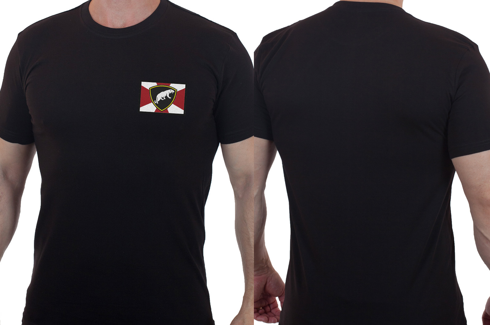 Черная мужская футболка с вышитым шевроном ОДОН ВВ МВД - заказать выгодно