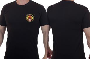 Черная мужская футболка с вышитым шевроном ОСН Булат - купить в подарок