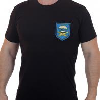 Черная мужская футболка с вышитым шевроном ВДВ 1141 Артполк 7 гв. ДШД