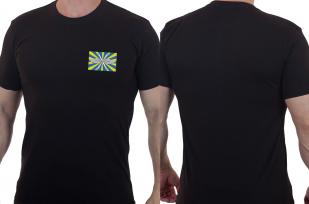 Черная мужская футболка с вышитым шевроном ВВС РФ - купить выгодно