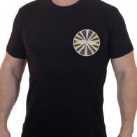 Черная мужская футболка с вышитым шевроном ВВС Россия