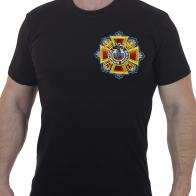 Черная мужская футболка с вышитым Знаком Полиция РФ