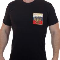 Черная мужская футболка с вышитым золотым гербом РФ