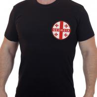 Черная мужская футболка с вышивкой Флаг Грузии