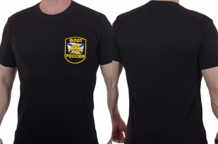 Черная мужская футболка с вышивкой Флот России
