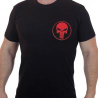 Черная мужская футболка с вышивкой Красный Каратель
