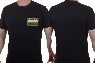 Черная мужская футболка с вышивкой Россия